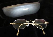 Silhouette18K Gold Frame Rimless Eyeglasses w/ Sapphires & Pearls / Case - Xlnt