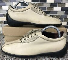 Vtg Tod's Made in Italy Off White/Bone Lace Up Leather Shoes Size 39 Eur 8.5 Us