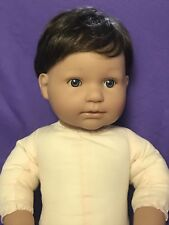 """EUC BERENGUER BOUTIQUE REALISTIC LIFE SIZE BABY DOLL 21"""" BLUE EYES BROWN HAIR"""