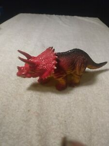 Vintage Triceratops red and green dinosaur 4 in tall by 9 and 1/2 in Long