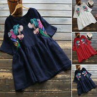 UK Womens Casual Loose Tunic Tops Ladies Short Sleeve Embroidered Shirts Blouse