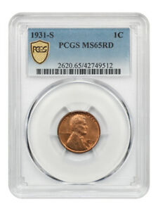 1931-S 1c PCGS MS65 RD - Popular Key Date - Lincoln Cent - Popular Key Date