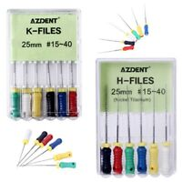 AZDENT Dental Endo Root Canal K-files / H-Files Niti 25mm #15-40 Hand Use File