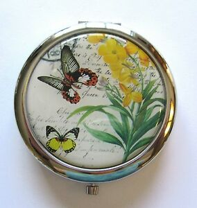 Mirror/Compact- flowers butterflies yellow green orange background --silver back