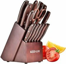 15-Piece Kitchen Knife Set with Block Wooden, Knife Set with Sharpener.