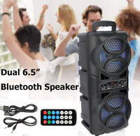 "Dual 6.5"" Woofer Portable FM Bluetooth Party Speaker Heavy Bass Sound Remote US"