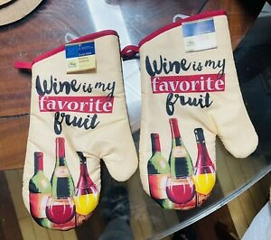 Home Collection Kitchen Oven Mitts Mittens Wine. Lot of 2. A+Seller.