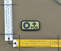 """PVC / Rubber Patch """"Small Blood Type 0 POS + Tan"""" with VELCRO® brand hook"""
