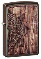 Zippo Wood Mandala Design Brown Matte Windproof Pocket Lighter, 49184