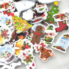 New 100pcs Merry Christmas Wood Button Sewing Craft Mix Lots WB220