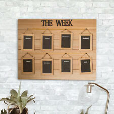 7 Day Weekly Hanging Wooden Memo Black Board Wall Family Organiser Note Home