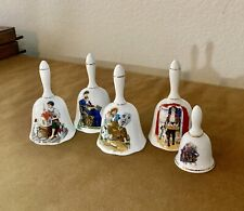 5 Norman Rockwell Porcelain Bells Collectible Vintage Gold Trim