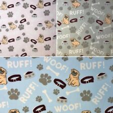 Polycotton Fabric Dog Puppy Pug British Bulldog Food Bowl Woof Bark Paw Prints