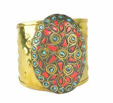 Inlaid Stone Ethnic Gypsy Boho Bohemian Cuff Gift Bangle Material Brass Bangles