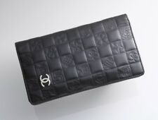 H3270K Authentic CHANEL Icon Line Coco Genuine Leather Bifold Long Wallet