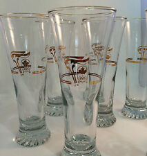 1988 Calgary Olympic Glasses Petro Canada 22K Gold Set of 2 Pilsner Beer Glasses