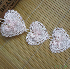 2 yard Heart Bow Pearl Lace Trim Wedding Bridal Ribbon Applique DIY Sewing Craft
