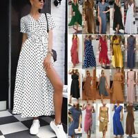Womens Boho Long Dresses Ladies Summer Beach Party Dots Maxi Dress Size 6 - 20