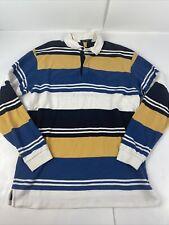 Nautica Rugby Polo Shirt Mens Medium Blue Striped Long Sleeve Heavy Cotton