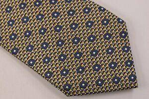 Ermenegildo Zegna NWOT Neck Tie In Yellow Geometric With Blue Dots 100% Silk