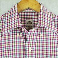 "PETER MILLAR ""Nanoluxe"" Size Small Button Down Front Sport Shirt Plaid Cotton"