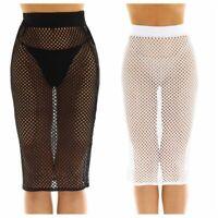 Womens Bikini Fishnet High-Waist Swim Skirt Cover Up Short Beach Dress Swimwear