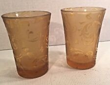 Pair Etched AMBER Drinking Glasses Vintage