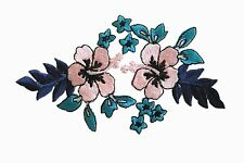 #6778B Pink Hibiscus w/Blue Flower Embroidery Iron On Applique Patch