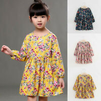 Baby Kid Girl Floral Dress Long Sleeve Princess Party Pageant Dress Kids Clothes