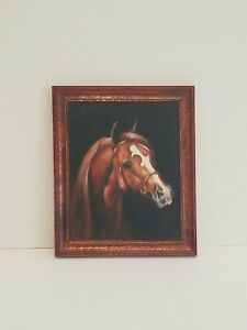 VTG Artisan Dollhouse Miniature HORSE Equestrian Painting SIGNED Susan Bullock
