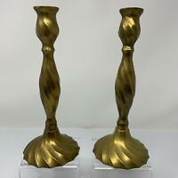 """Vintage Brass Candlesticks Tapers Set of 2 10"""" Hollywood Regency India Patina"""