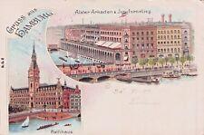 SELTEN 2-Bild-Litho AK 1903@Gruss aus Hamburg @ Alster-Arkaden & Jungfernstieg
