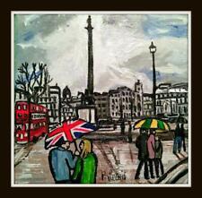 Original Northern Art Oil Painting Phil Lewis : Union Umbrella at Nelsons Column