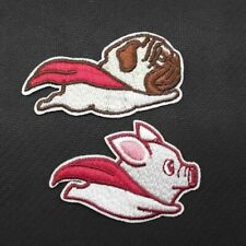 Flying Pug Pig Heroes Embroidered Patches Iron On Appliqué 2pcs