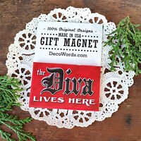 *THE DIVA LIVES HERE Refrigerator Magnet Office Cubicle Workplace Gift DecoWords