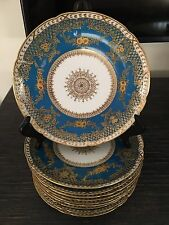 Antique French Limoges 10 Pieces Plate Set Gold Enamel Encrusted