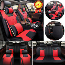 L Size Microfiber Leather Seat Covers US 5 Seats Car Black&Red Front+Rear Pillow