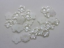 200 Pure White Pearl flower Beads 12mm FlatBack Center Hole Sew On Beads Craft