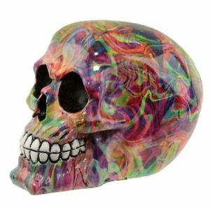 Rainbow Marble Effect Skull Head  Ornament