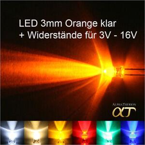 LED 3mm Weiß , Warmweiß , Gelb , Orange , Rot , Grün , Blau + Widerstände 3V-16V