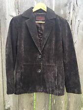 SIENA Women's Soft Very Dark Brown Leather Suede Jacket - Size 8