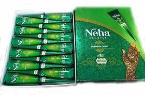 Neha Natural Henna Mehandi Temporary Tattoo - 12 Cones Free Shipping