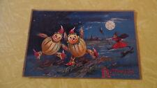 Antique Vintage Tuck Halloween Postcard Witch Pumpkin Black Cat Moon 1908