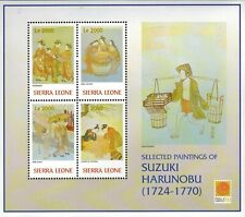 MODERN GEMS - Sierra Leone - Paintings by Suzuki Harunobu - Sheet of 4 - MNH