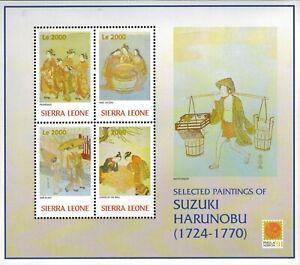 MODERN GEMS - Sierra Leone - Paintings by Suzuki Harunobu - Sheet of 4 - MNH