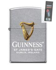 Zippo 6492 Guinness Beer Harp St James Gate Street Chrome Lighter + FLINT PACK