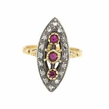 & Ruby Engagement Ring For Women Victorian Era 0.32 Ctw Rose Cut Diamond