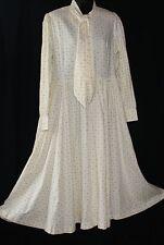 Vintage LAURA ASHLEY UK Yellow Full Modest Long Sleeve Dress Sz 12 14