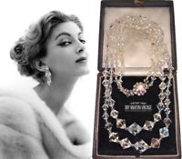 VINTAGE 1950s DOUBLE STRAND AURORA BOREALIS CLEAR CRYSTAL LONG NECKLACE SPARKLY