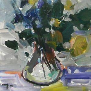 JOSE TRUJILLO - Still LIFE Plants Glass SIGNED COA Oil Painting - IMPRESSIONISM